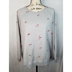 Lucky brand floral embroidered crewneck.
